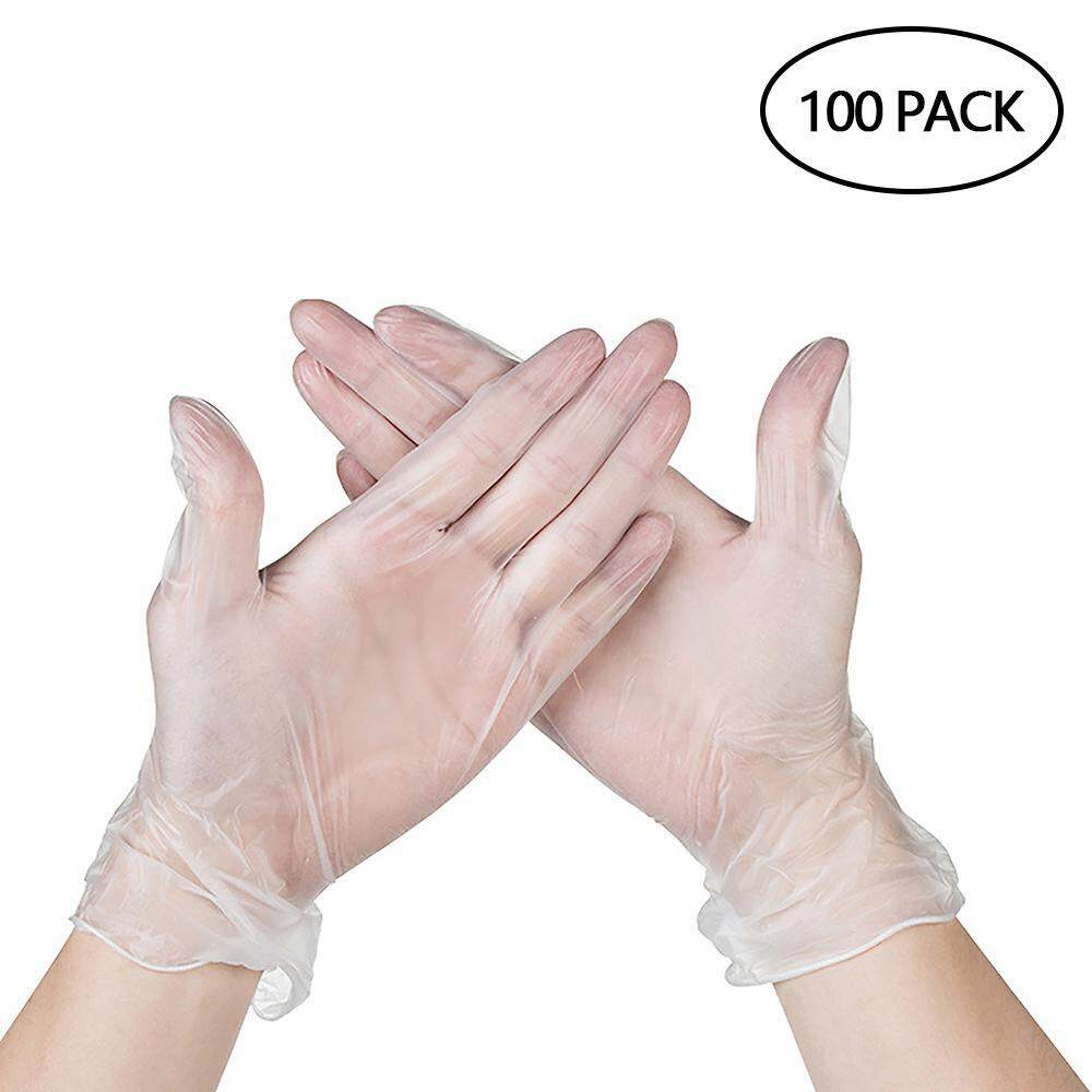 SilyNew Disposable Non Latex PVC Work Gloves, Clear Powder Free Vinyl Glove, Static-free, Allergy Free, Non-sterile, For Working, Cleaning - Home or Industrial (Box of 100)