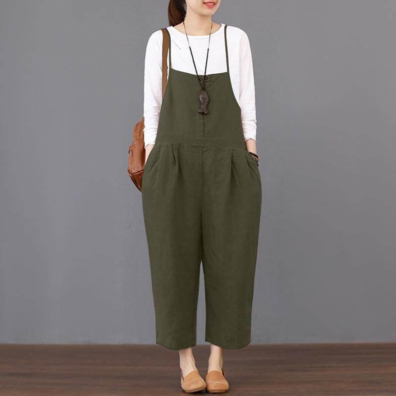79dc9ba78c00 ZANZEA Womens Strappy Dungaree Bib Cargo Pants Long Jumpsuit Trousers  Overalls