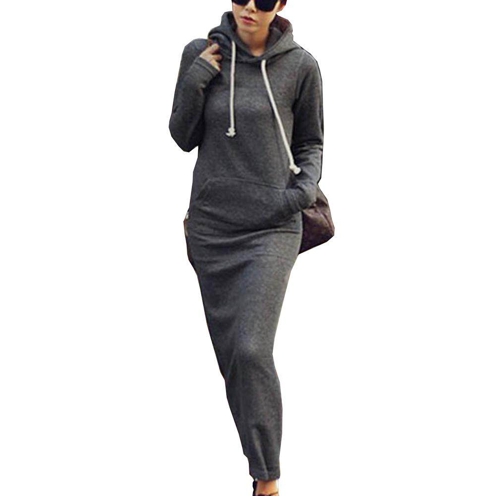 Women Fleece Slim Pocket Hoodie Bodycon Sweater Long Maxi Dress 1c6c274f16f8
