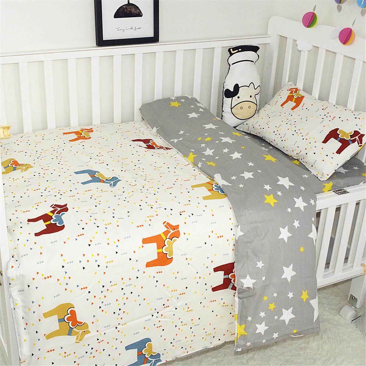 Baby Bedding Reversible Cot Quilt Cover Set Pillowcase Nursery Bed Animals By Freebang.