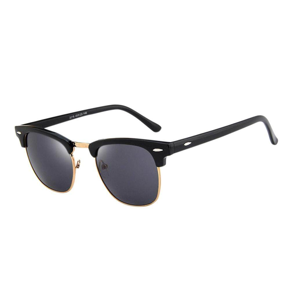 50e0dcf7ffc Qimiao Retro Fashion Half Frame HD Mirror Lens Vintage Sunglasses for Man Woman  Lenses Color