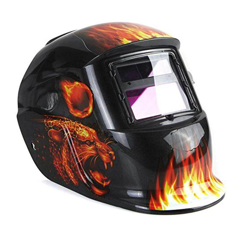 Welding Mask Hood Solar Automatic Welding Helmet (Solar Power for Recharge) Face Protection (Flame Leopard)