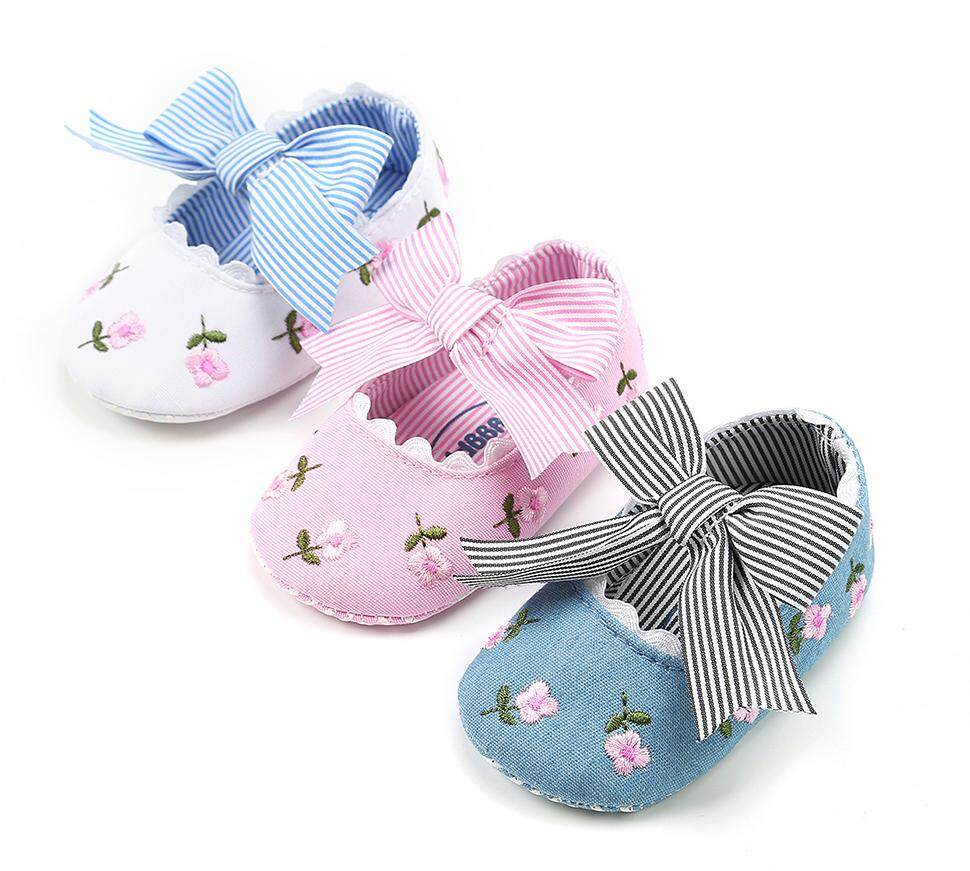 23ee476dfbe Newborn Infant Baby Girl Princess Non-Slip Bowknot Flower Baby Shoes Soft
