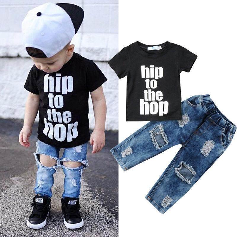 a80d245f0 Newborn Kids Boys Clothes T Shirt Tee Top +Denim Hole Pants Outfits Set