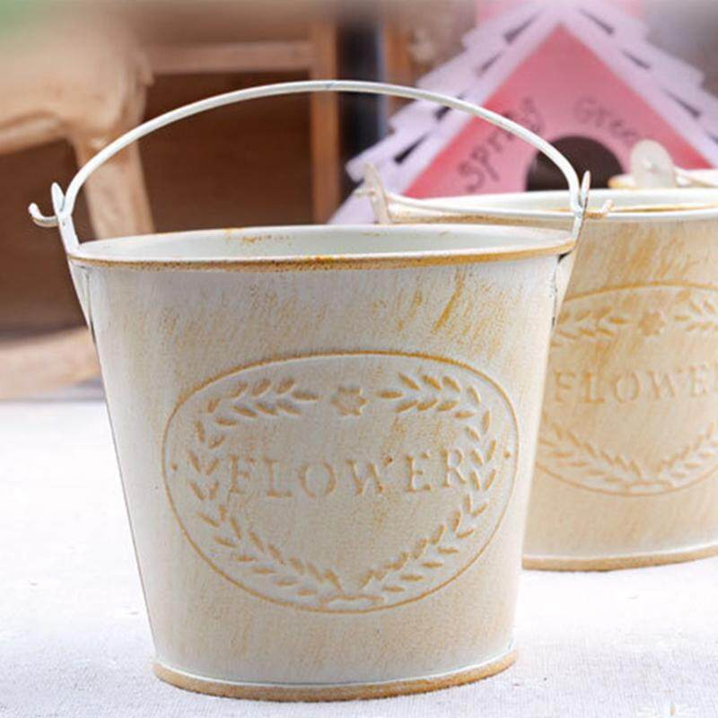 Flameer Shabby Chic Iron Flower Buckets Plants Planter Pot Bucket Flower Vases Home Balcony Floral Decor