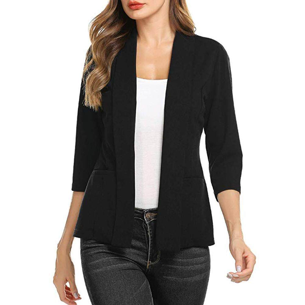 123d6584fe8 Korean Style Coat Women Mini Suit Casual 3 4 Sleeve Open Front Work Office  Blazer
