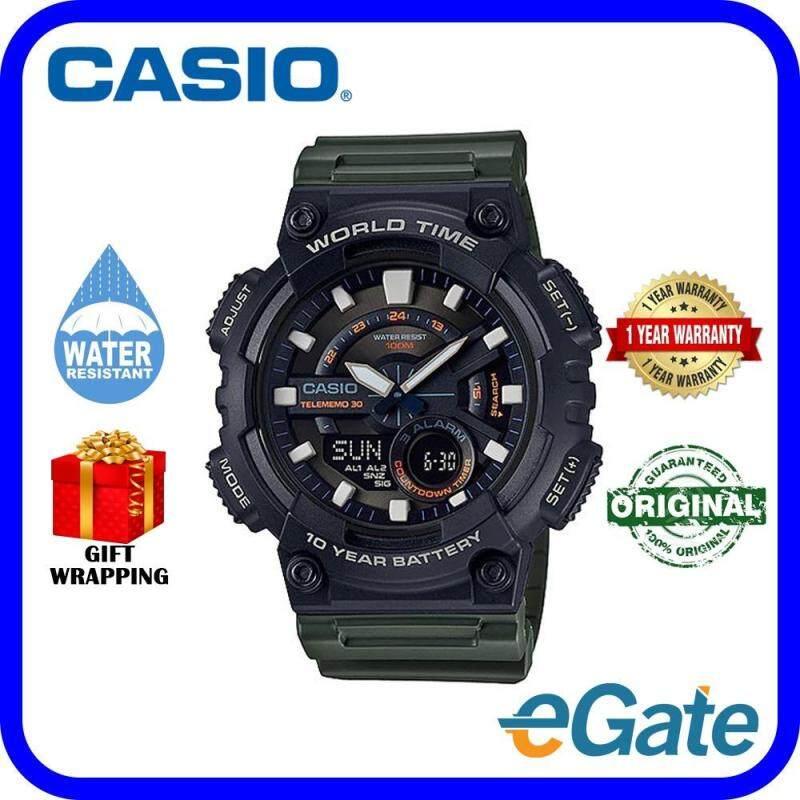 Casio AEQ-110W-3AV Digital Men Watch Black Deep Green Sport Original Malaysia