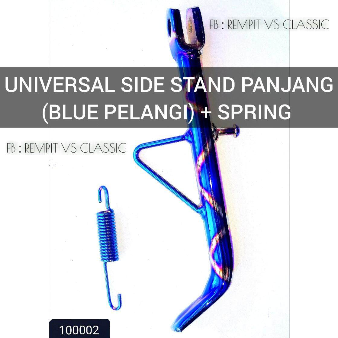 Universal Side Stand Panjang (blue Pelangi) + Spring By Rempit Vs Classic.