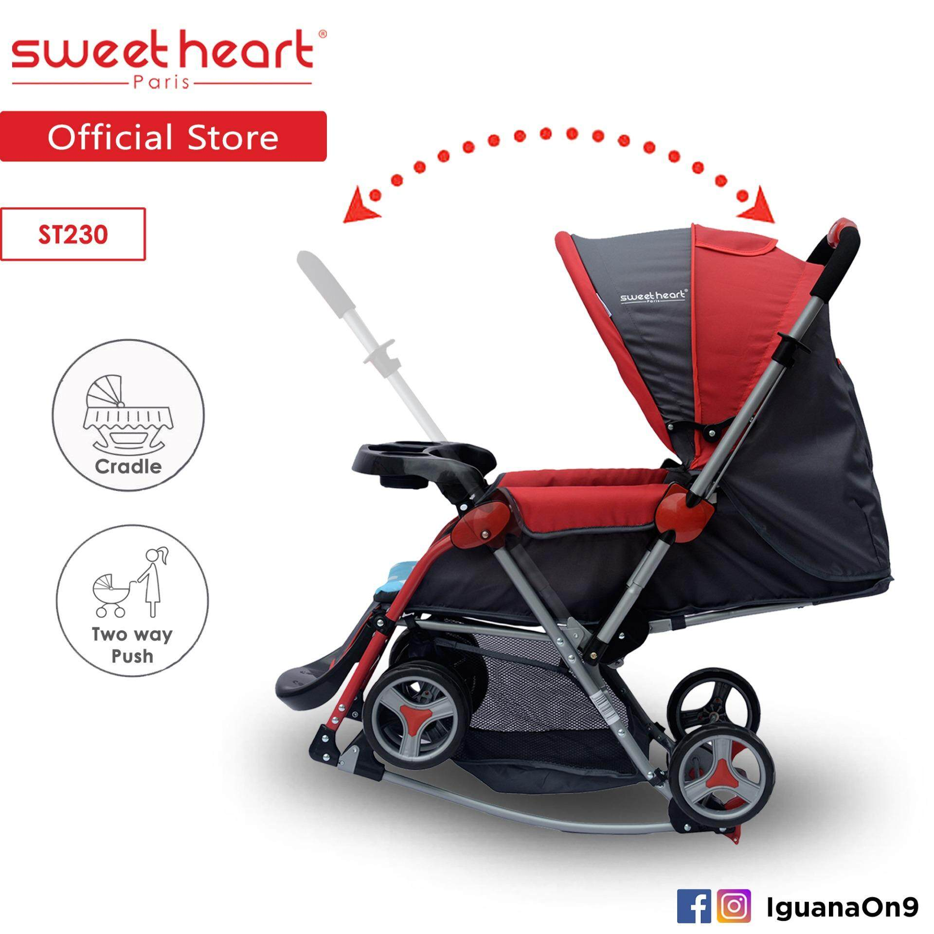Sweet Heart Paris Aluminium 2IN1 Stroller + Rocker Cradle ST230 (Red) Bundle with Mosquito Net & Reversible Handlebar