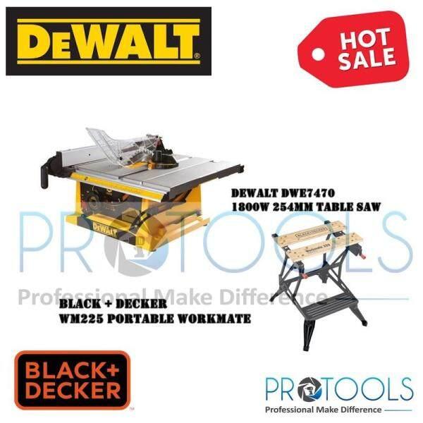 DEWALT DWE7470-B1 1800W 10 Inch 254mm Table Saw + BD Workmate 225 Portable