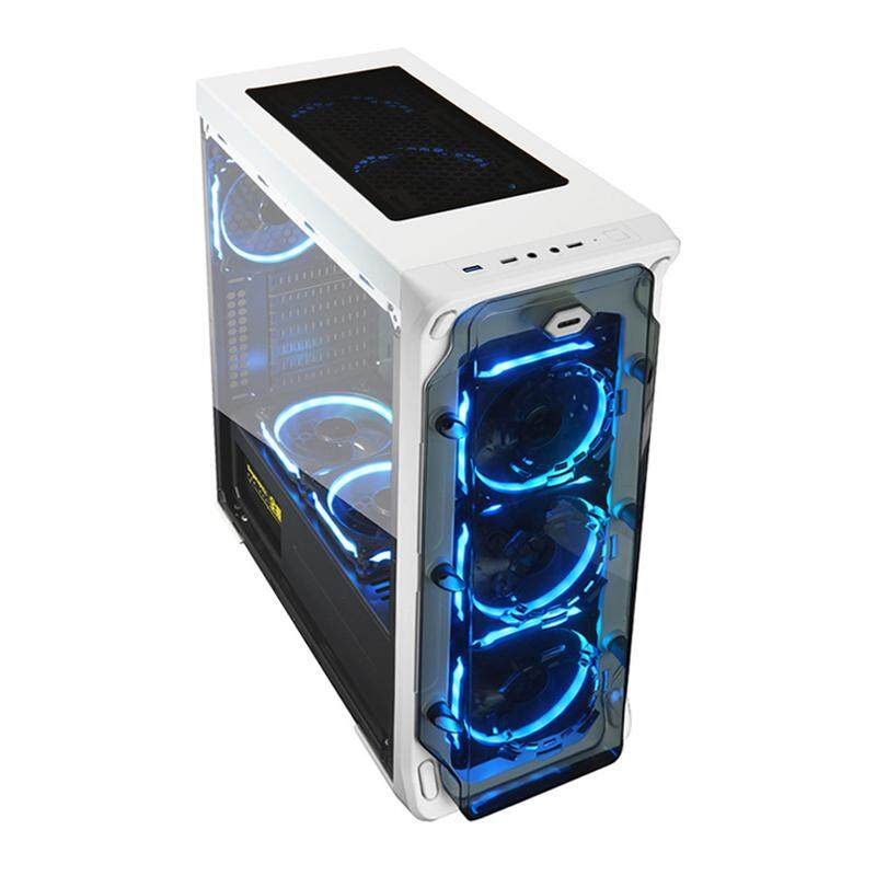 Segotep LUX II + 3 x Lighting 12CM RGB Fan Medium Tower ATX Gaming Casing White Malaysia