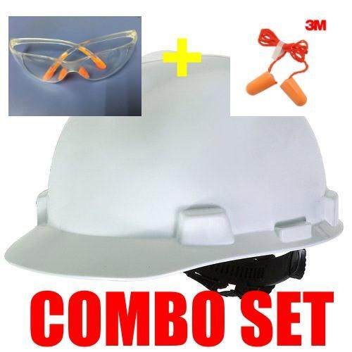 MSA HELMET V-GARD PROTECTIVE CAP WHITE W/RATCHET HARDNESS (ORIGINAL USA) c/w Safety Glass & 3M 1110 CORDED FOAM EAR PLUGS (COMBO SET)
