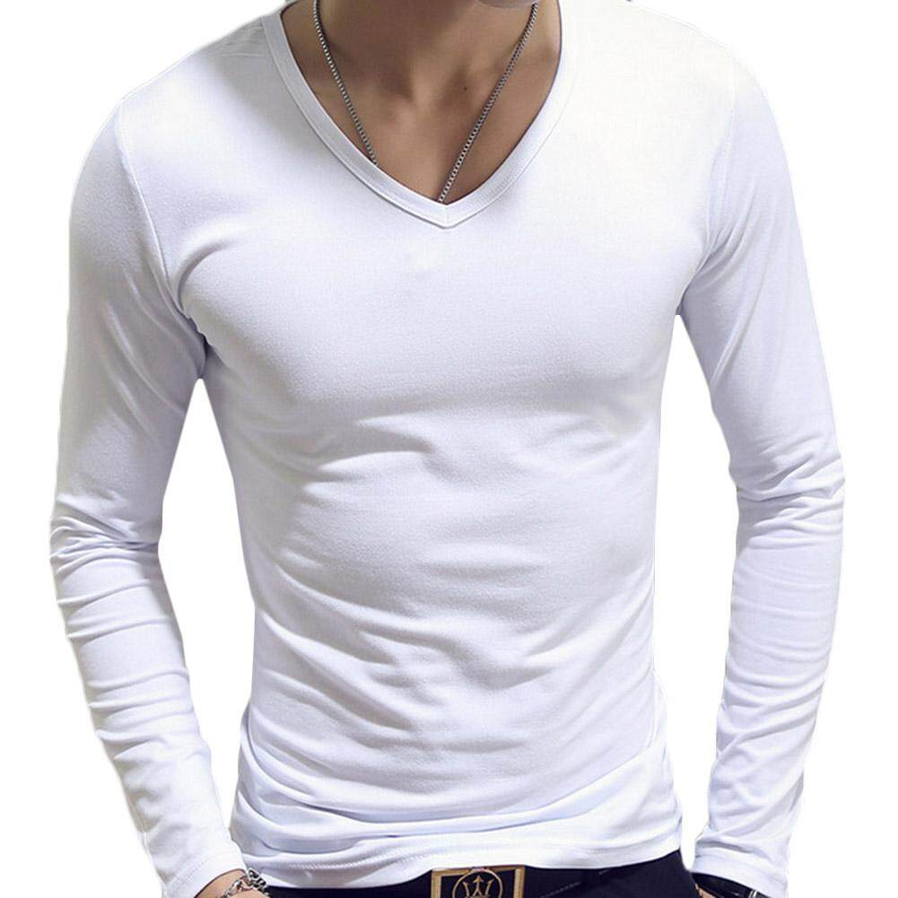 8d03fc95c07b Men Casual Slim Fit Solid Color Tshirt s Long Sleeve O Neck V Neck Cotton T