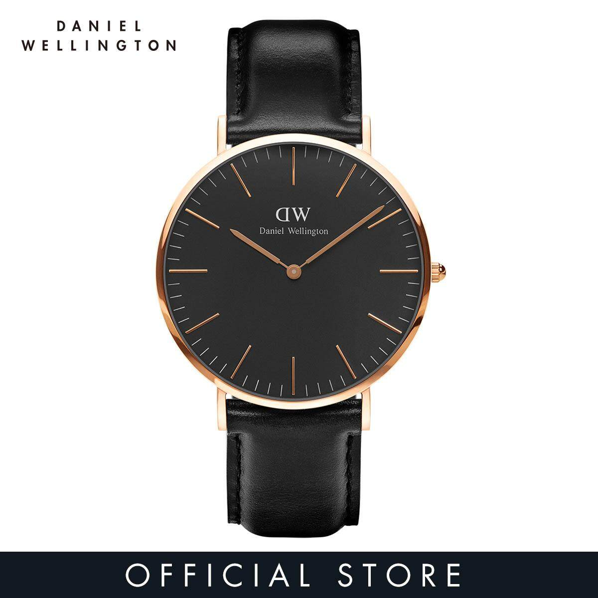 Daniel Wellington Classic Black Sheffield 40mm Black Dial on Rose Gold with Black Leather Strap - DW Watch for Men - Jam tangan lelaki Malaysia