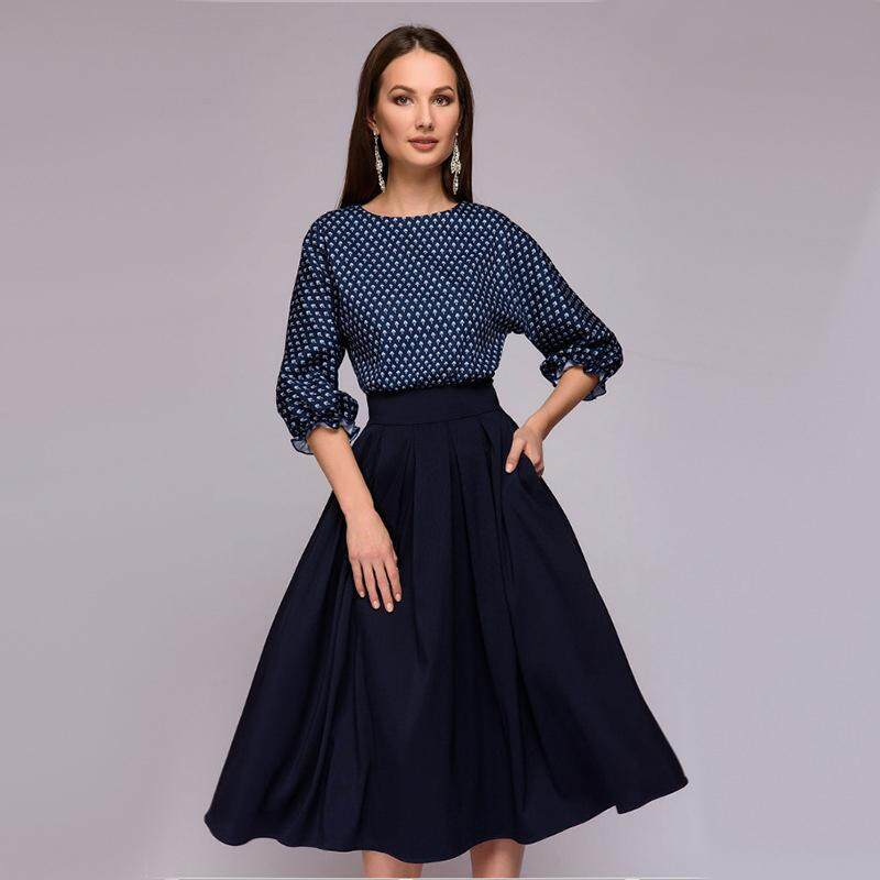 e2ae7cf0bec5 Lightnice Autumn Winter Dress Flower Print Three Sleeve Quarter Patchwork Dress  Women Casual Elegant Patchwork A