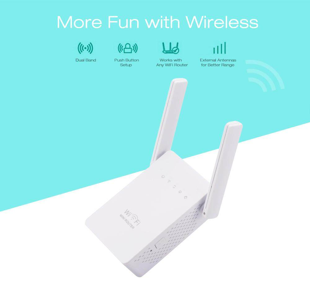 1200Mbps Dual Band 2.4/5G Wireless Range Extender WiFi Router 4 Antenna Double Frequency Trunk Circuit Commercial Repeater Network Extender Signal