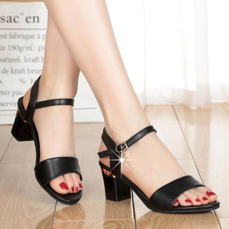 05bf5f0b283 Peep-toe Sandals Female Summer 2019 New Style Block Heel Semi-high Heeled  Women s