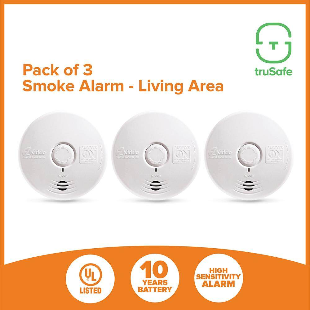 KIDDE smoke detector Alarm sensor [pack of 3], 10 Years Battery, UL listed