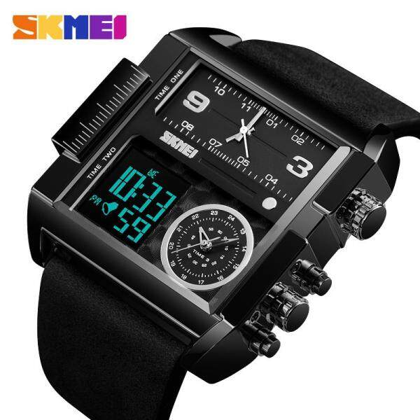 SKMEI New Men Fashion Watches Sports Military Watches Leather Quartz Waterproof Digital Wristwatches Male Clock 1391 Malaysia