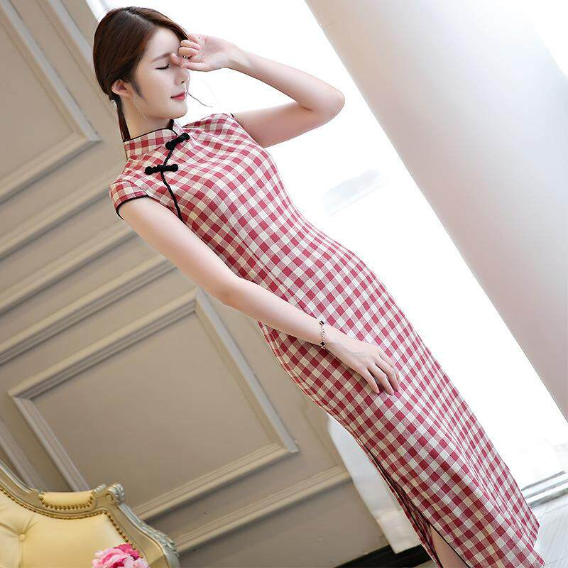 1a554a27fb2 Printed Plaid Red Midi Linen Cheongsam 1137-28 格子條紋清雅紅色棉麻旗袍