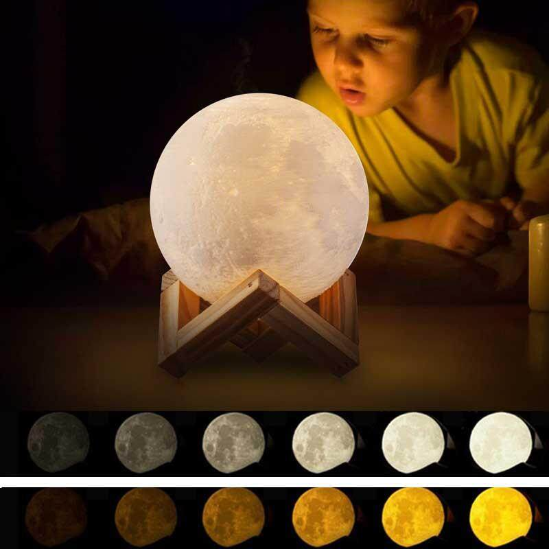 8 Cm Rechargeable 3d Print Moon Lamp 3 Colors Change Touch Switch Bedroom Bookcase Night Light Home Decor By Itong.