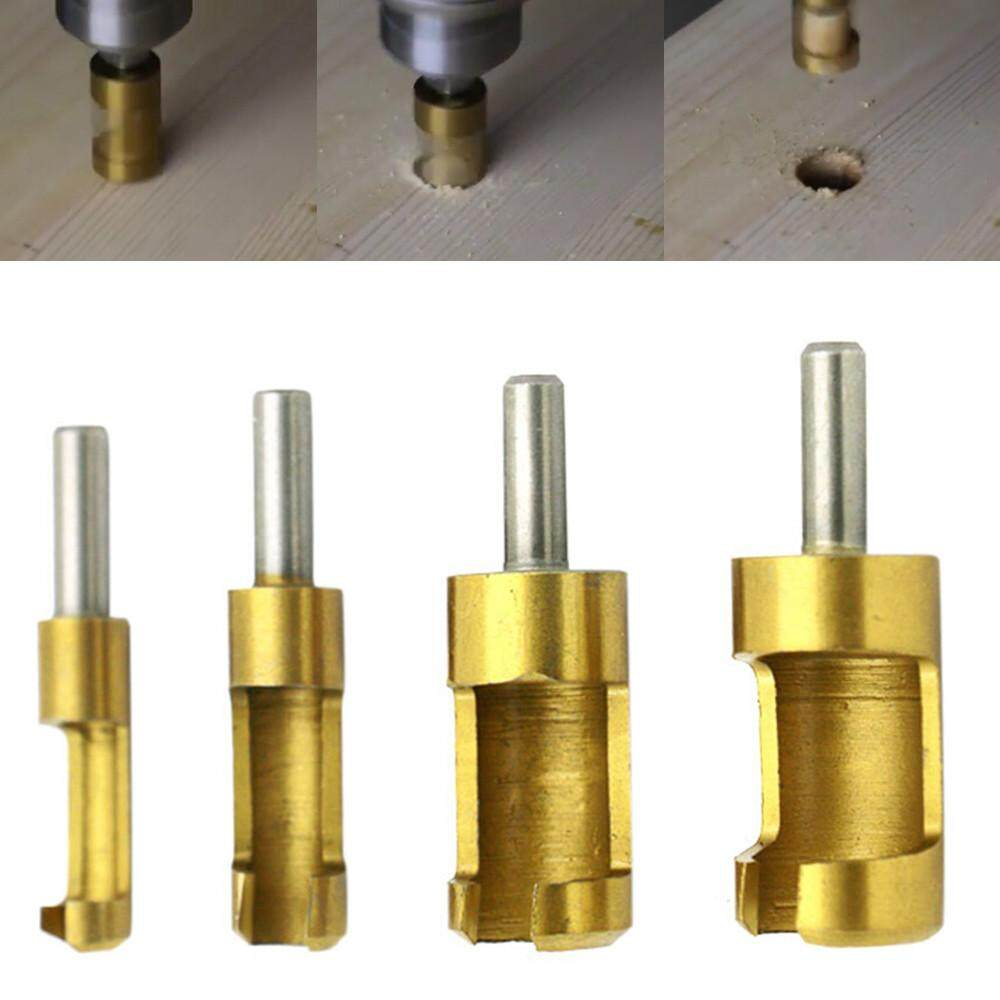 4 Pcs Carpentry Wood Plug Titanium Cutter Straight Tapered Claw Type Drill Bit