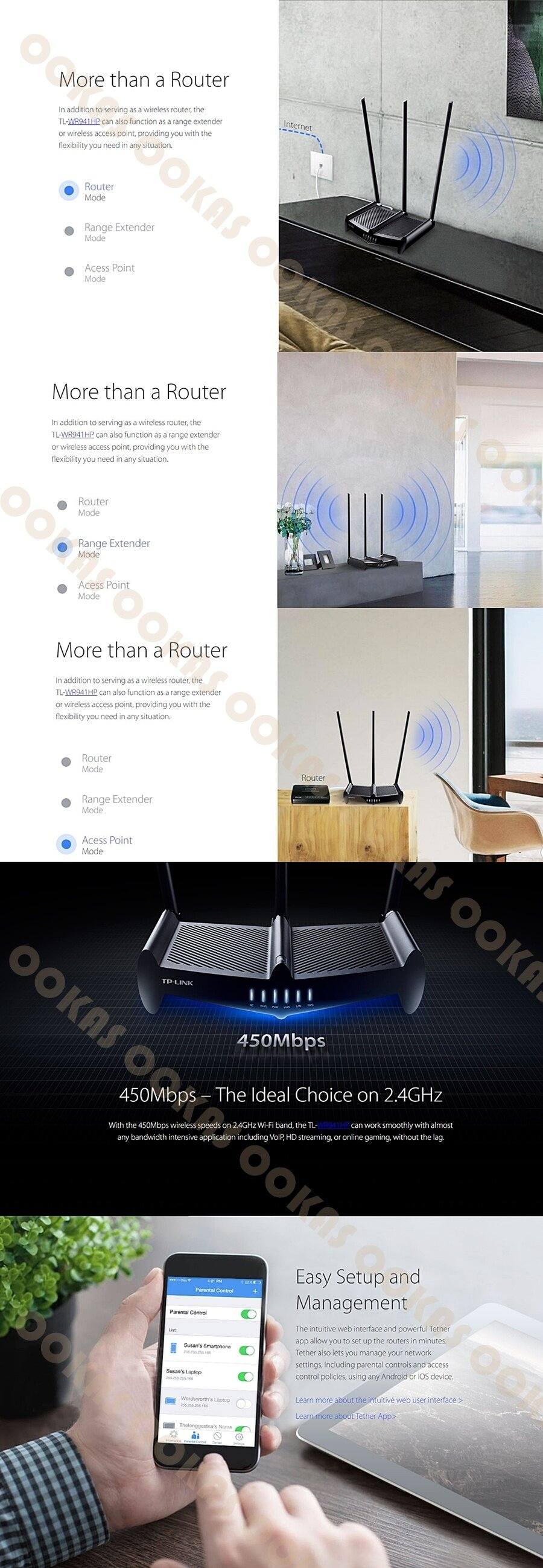 TP-LINK High Power 450Mbps 3x9dbi Wireless Router TL-WR941HP Unifi Maxis  Time