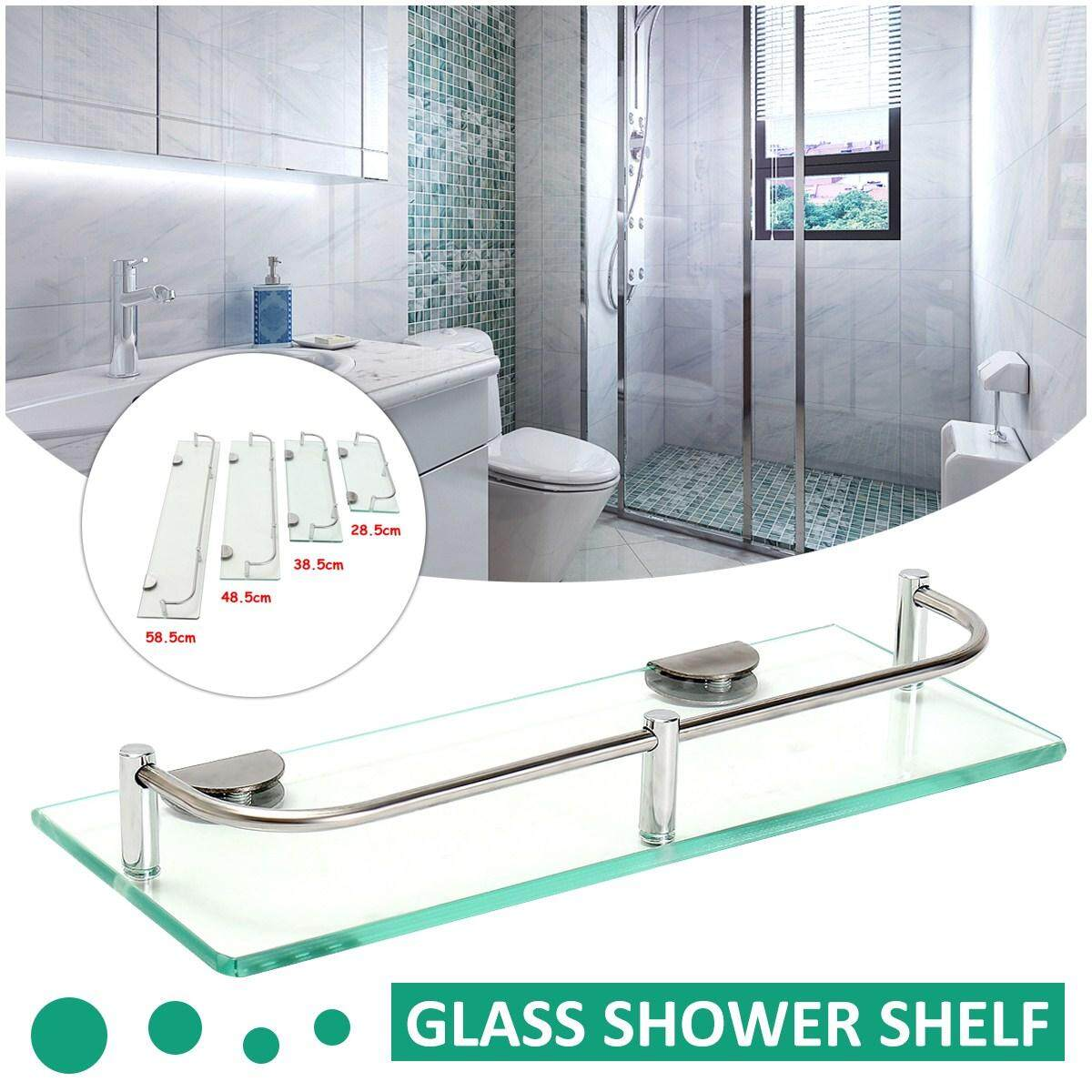 Product details of Modern Glass Corner Holder Rectangle Shelf Wall Mounted Bathroom Shower Storage [28.5cm]