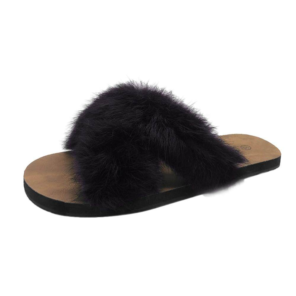 7cbf3c3f6163 GUO Women Fluffy Faux Fur Indoor Outdoor Flat Heel Sandals Slipper Casual  Shoes