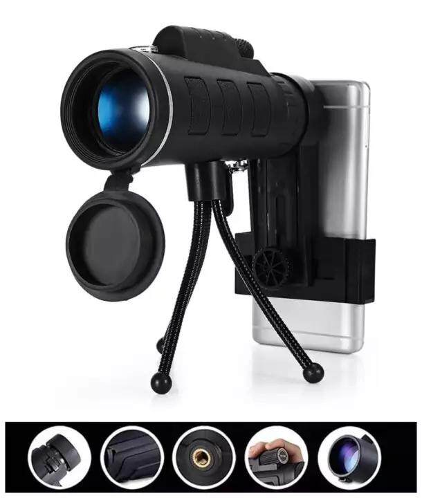 Monocular 40X60 Zoom Optical Lens Telescope HD Night Vision Prism Scope with Compass Phone Clip Tripod