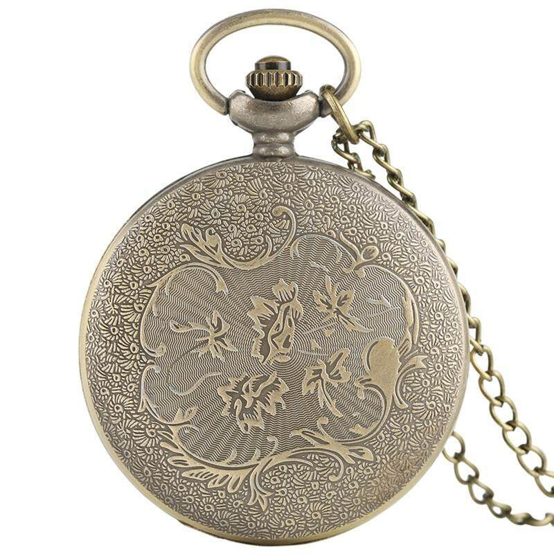 Vintage Necklace Pentagram Pentacle Pagan Wiccan Witch Gothic Pewter Quartz Pocket Watch Men Women Children Gift Stylish Pendant Malaysia