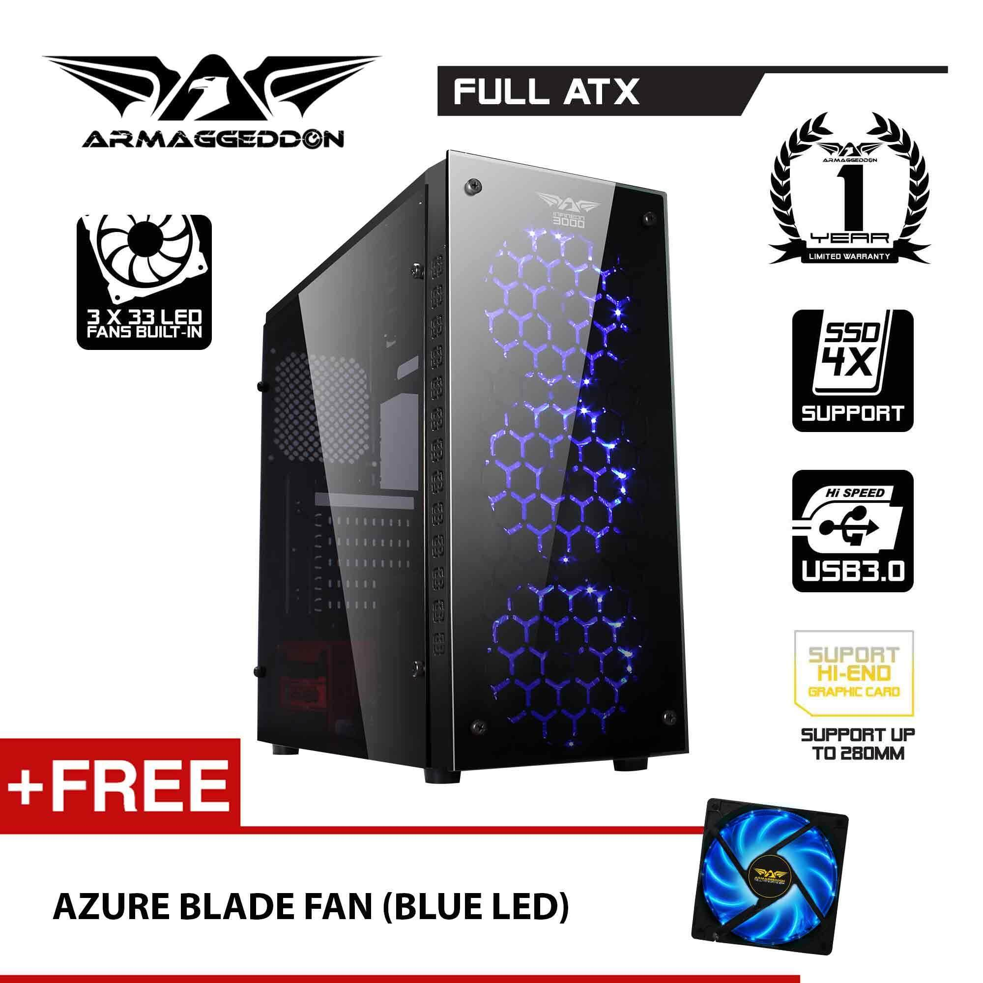 Armaggeddon Infineon 3000 ATX Gaming Tower Free Azure Blade Fan(Full View Transparent Side Panel Design) Malaysia