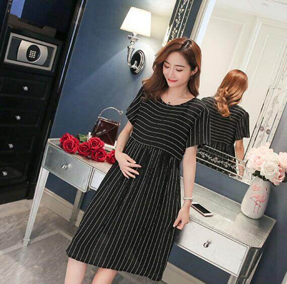 44f7339b9b2 Mario Korean fashion casual pregnant women dress medium long Short sleeve shirt  Maternity Dresses tops