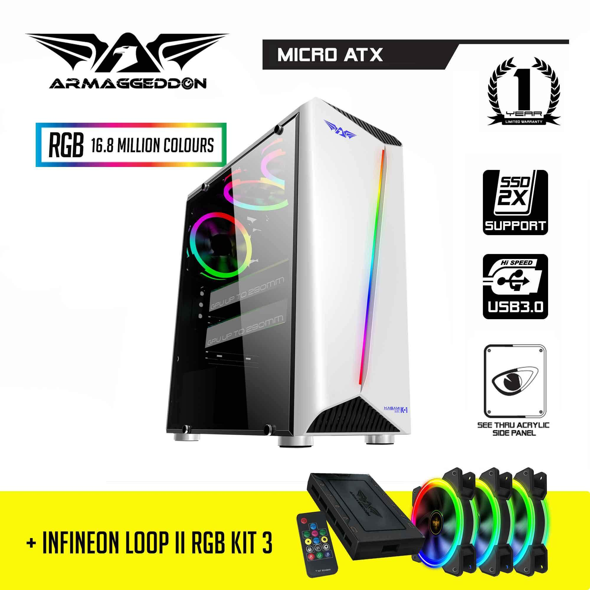 Armaggeddon KAGAMI K1 Gaming Case and Infineon Loop II RGB Kit (3 x RGB Fan with FX Controller) Malaysia