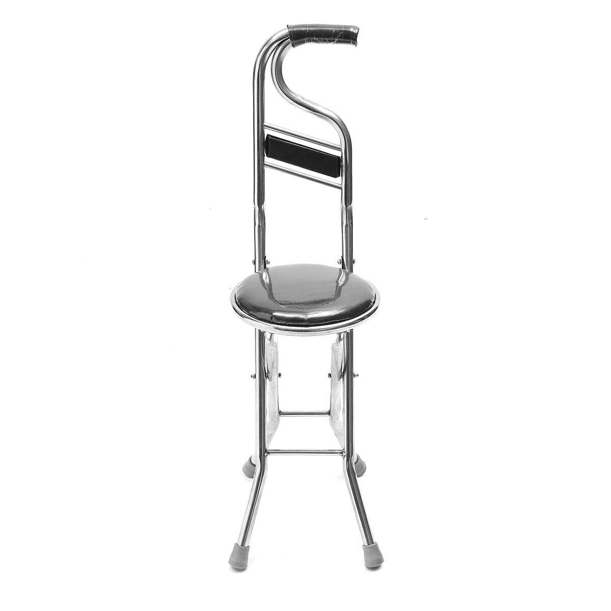 Stainless Steel Portable Folding Walking Stick Chair Seat Stool Travel Cane  Black By Glimmer.