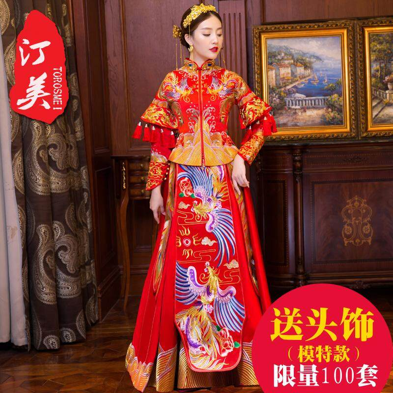6a94315db7c9 Chinese Traditional Wedding Dress 2019 New Style Spring Summer Chinese  Style Wedding Dress Tailing Dragon And