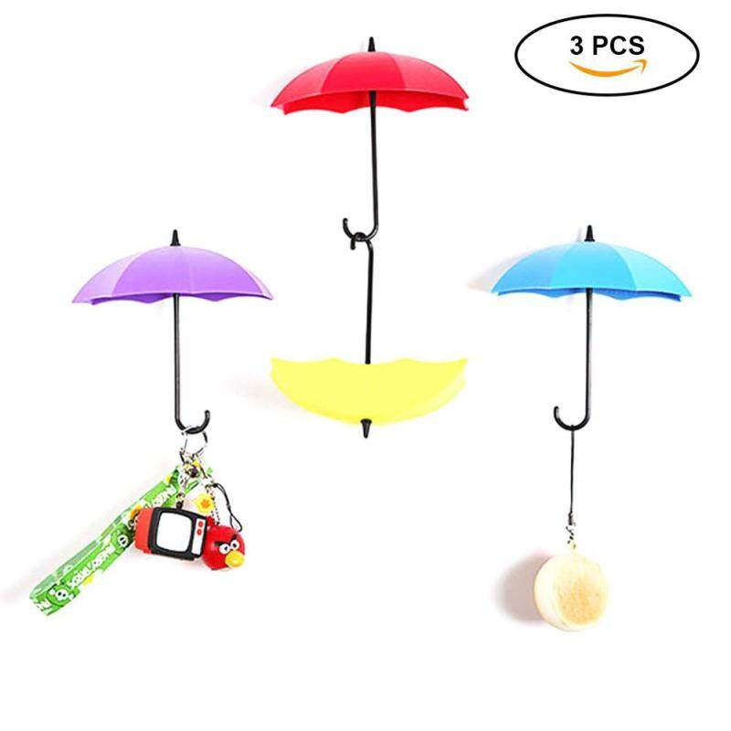 Womdee Free Nail Glue Umbrella Shape Wall Hooks Three Containers, Small Decorative Objects Single Hook Creative Stick Hook