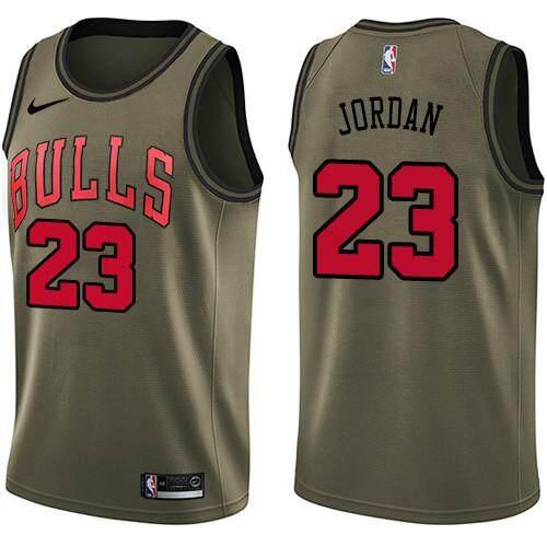 buy online 9b408 8df66 Fashion Nike Official MEN Michael Jordan Chicago Bulls #23 Army Green  Swingman Basketball Jersey Hot