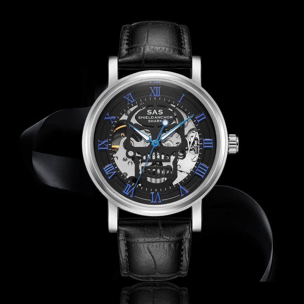 SAS Skull Skeleton Mechanical Hand-Winding Black Leather Watch (Sliver Black & Blue) Malaysia
