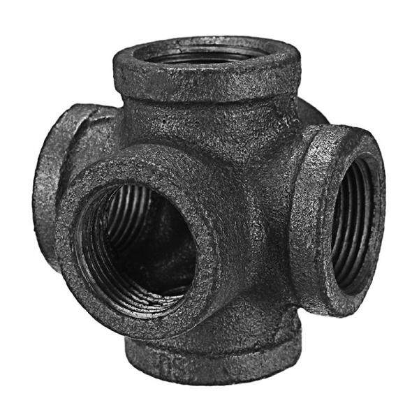 Black Malleable Iron 6 Way Pipe Connector Iron Pipe Fitting 1/2 Inch