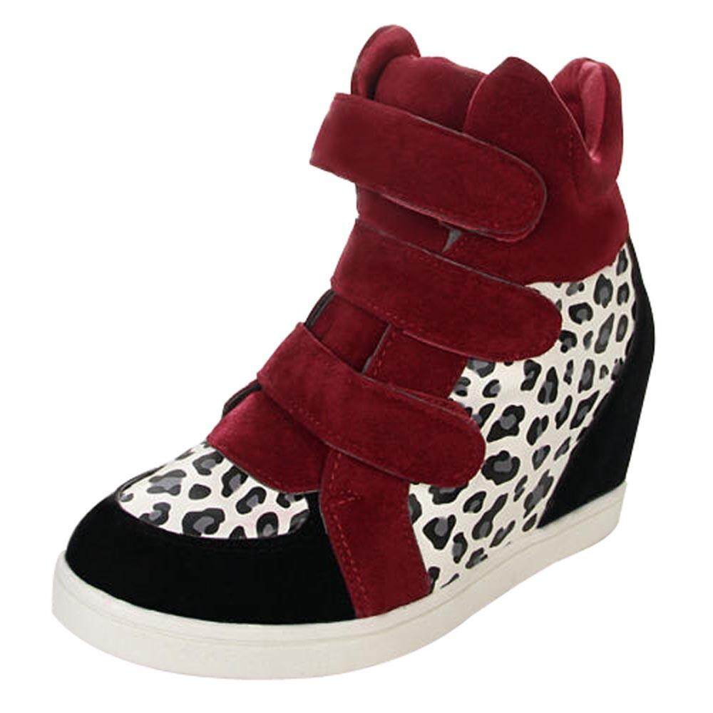 Teresastore Women Shoes Leopard Print Hidden Heel Flock Fashion Wedge Casual Shoes By Teresastore.