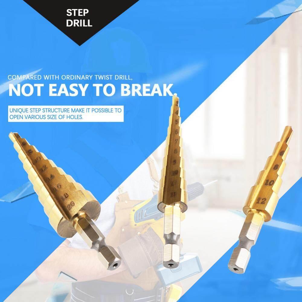 3Pcs HSS Step Cone Drill Bit Hex Shank Titanium Plating Drill 3-12/4-12/4-20mm