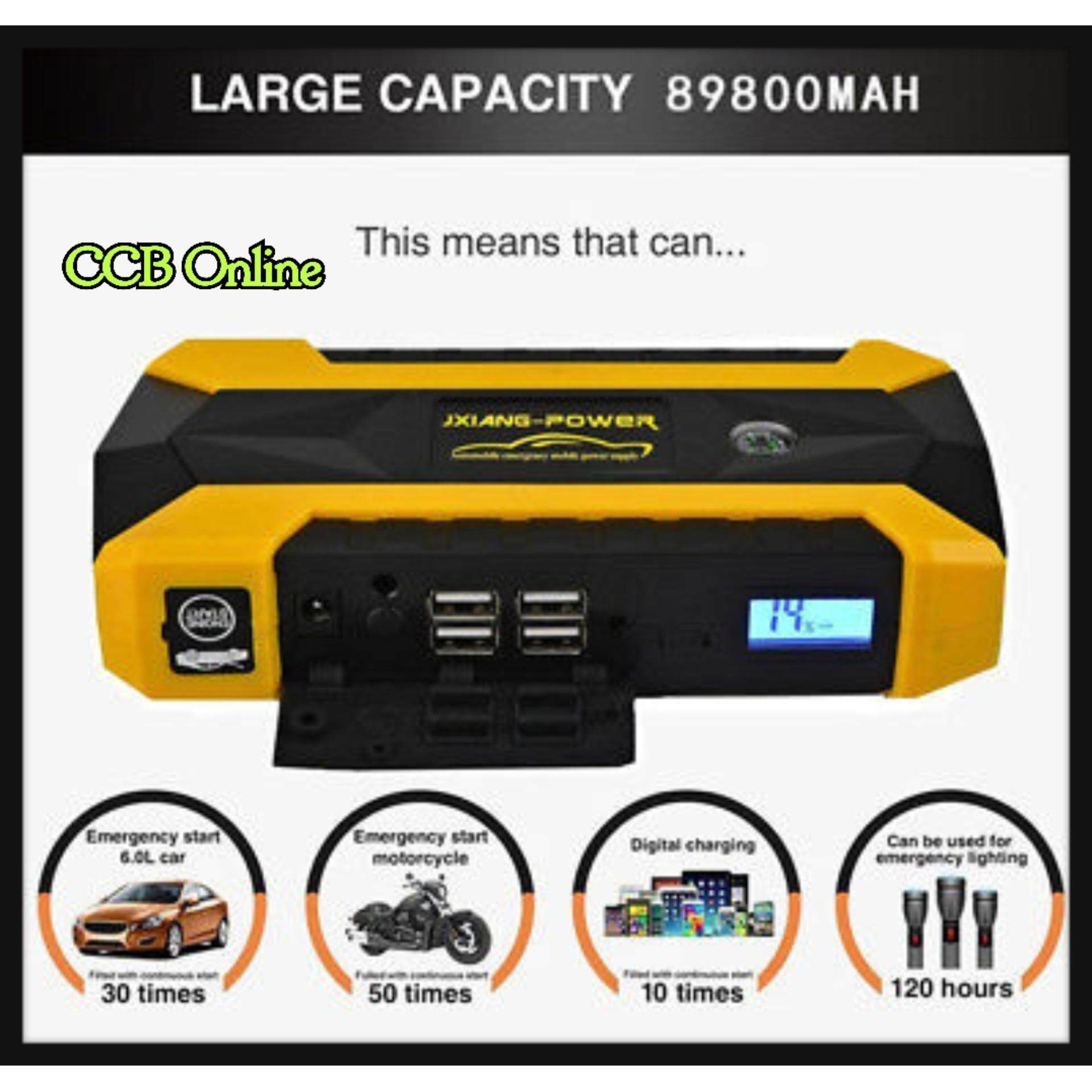 Jump Start Car Power Bank Jx29a (89800mah) & Emergency Mobile Power Supply (green,red,yellow) By Ccb Online.