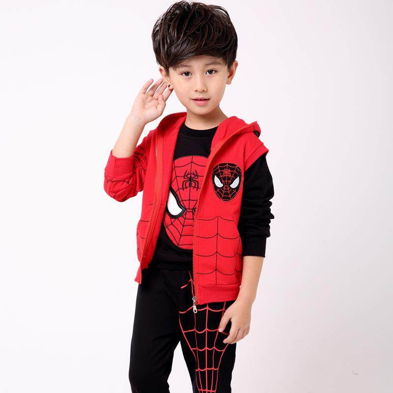 3pcs Superman Clothes Set Vest+t-Shirts+pants Fashion Boys Sports Suit New Kids Cotton Clothing Set By Endless Love Baby.