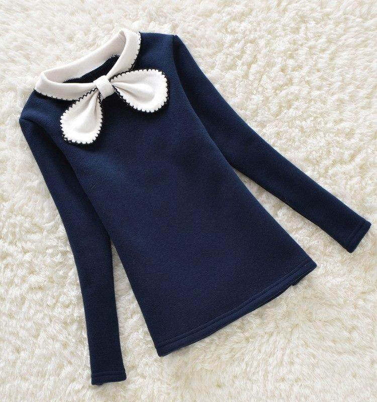 Shuimitao 2-12y Children Winter Hoodies Girls Warm Plus Velvet Sweatshirts Kids Bow Lace Sweater Child Tops Shirts Clothes Costume By Shuimitao.