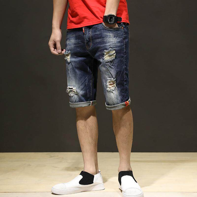 New Style Man Fashion Summer Straight Ripped Short Jeans Denim Pants (blue) By Jeans Mall.