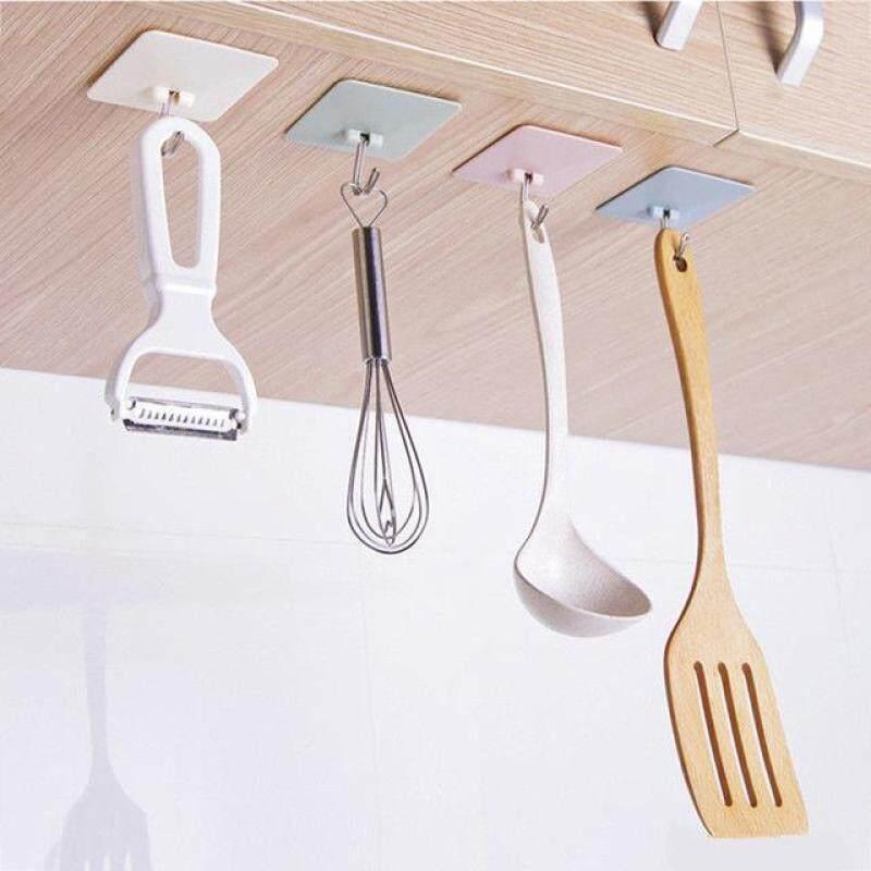 4PC Shelf Hanger Bathroom Kitchen Organizer Hanger Adhesive Hooks Stick On Wall shelf Hanging Door Clothes Towel Holder(Color Randomly)