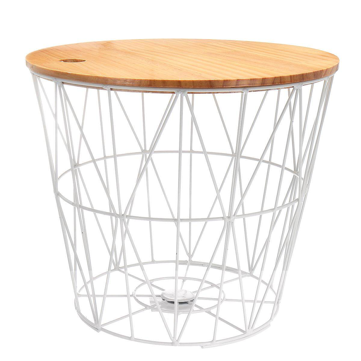 White Metal Wire Basket Wooden Top Side Table Storage Loft Living Home Furniture [white Large (with Cover)] By Teamwin.
