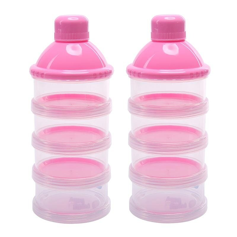 3de6c727393d 2Pcs 4 Layers Portable Infant Baby Milk Powder Formula Dispenser Feeding  Storage Case Box Container