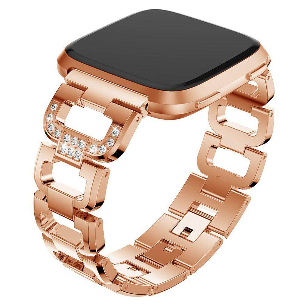 For Fitbit Versa Bands, Replacement Bands Straps Wristbands for Fitbit Versa Watch alloy Sport Bling Adjustable for Women Men: Rose gold Malaysia